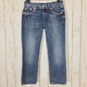 Miss Me Easy Capri Jeans Cropped Light Wash Blue